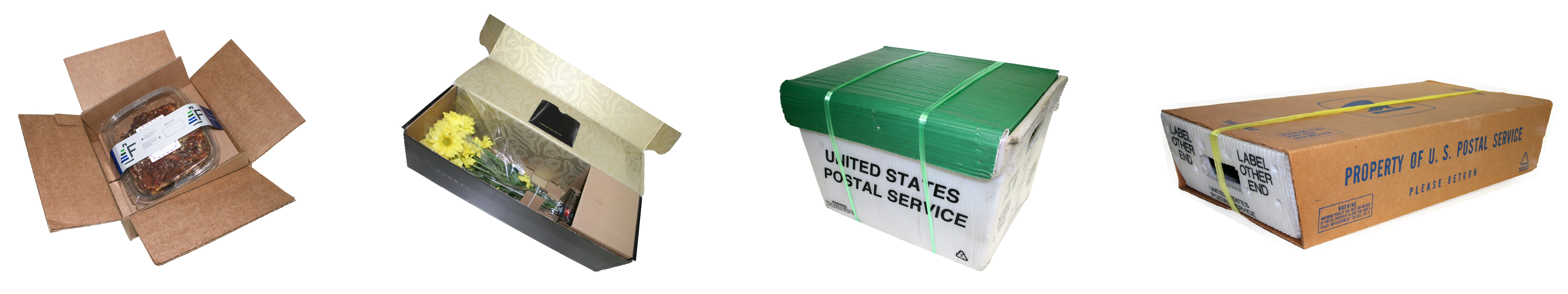 e-commerce packages, mail tub and tray